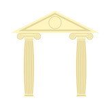 Greek Portico. Greek temple. Two column and roof. Vector illustr