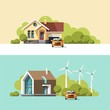 Traditional and modern house. Family home. Flat design vector concept illustration.