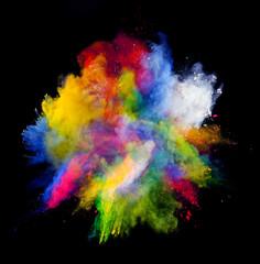 Colored powder on black background © Jag_cz