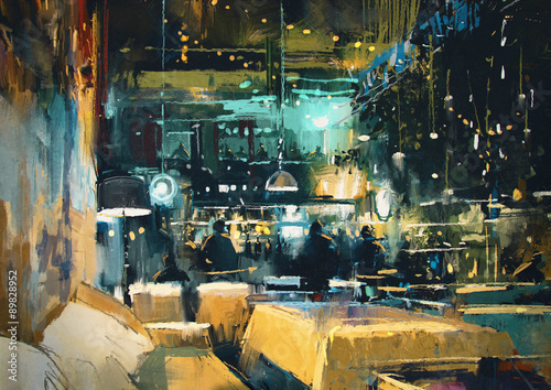 painting showing colorful interior of bar and restaurant at night - 89828952