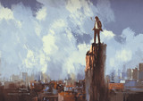 Fototapety illustration painting of businessman stands on the peak looking at city