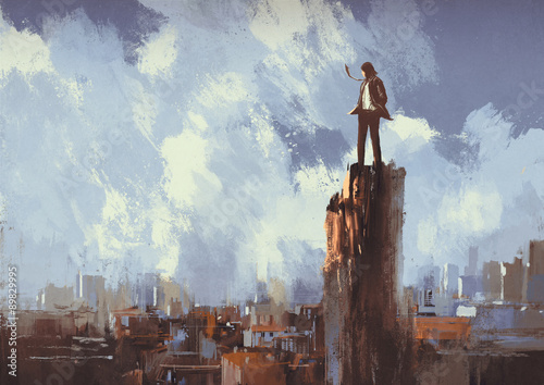 illustration painting of businessman stands on the peak looking at city - 89829995