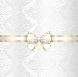 White luxury wedding cover template with white ribbon
