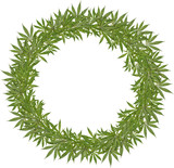 Round wreath of green leaves cannabis