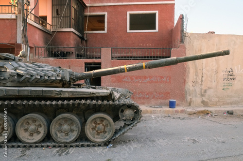 Poster Damascus, Syria - September 21: A tank of the Syrian National Army in the outski