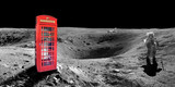 Red english london phone booth on the surface of the moon - elements of this image are provided by NASA