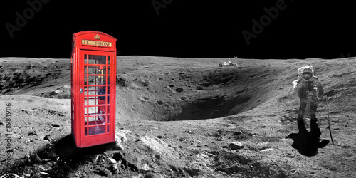 Red english london phone booth on the surface of the moon - elements of this ima Poster