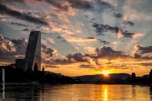 canvas print picture Roche-Turm mit Sonnenaufgang