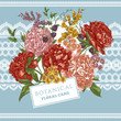 Vintage Greeting Card with Blooming Peonies