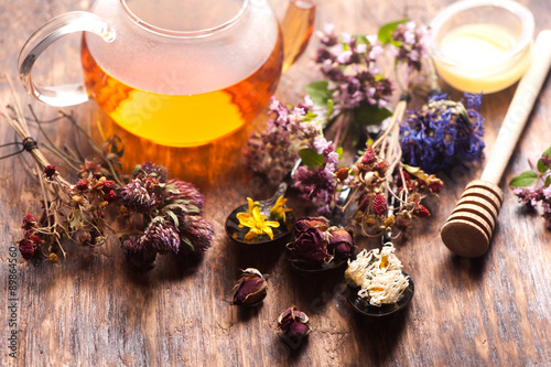 herbal tea with wild flowers and various herbs Poster