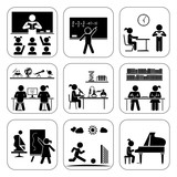 Fototapety Pictogram icon set. School days. Children in school attending classes.  Doing maths, chemistry, art, playing piano, learning, doing sports.