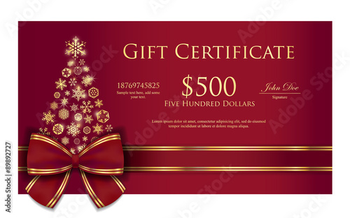 Christmas gift certificate with tree composed from  gold snowflakes - 89892727