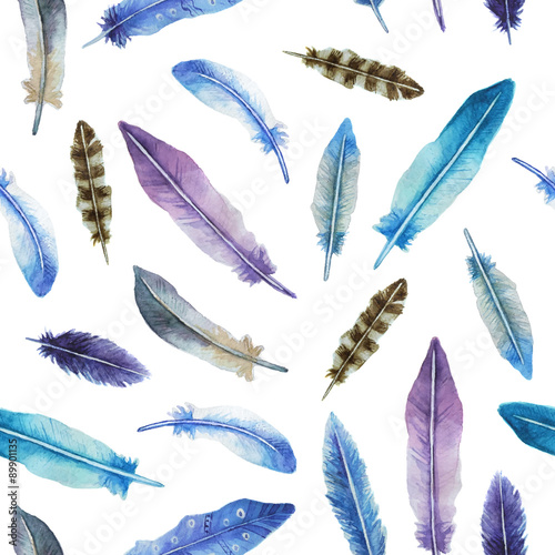 Cotton fabric Watercolor feather seamless pattern