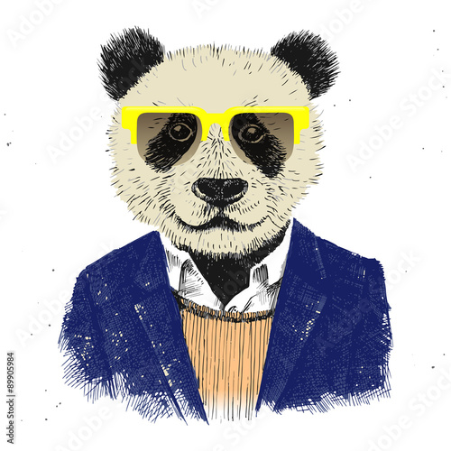 Hand drawn dressed up hipster panda  - 89905984