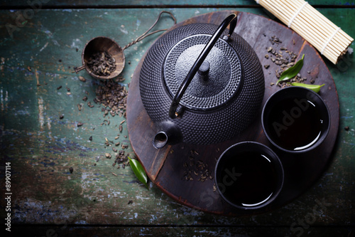 Foto op Canvas Zen Black iron asian tea set