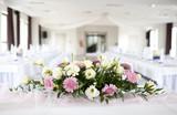 Wedding table with bouquet of gerbera flowers - Fine Art prints