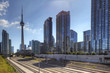 Railway lines in Toronto with the CN Tower