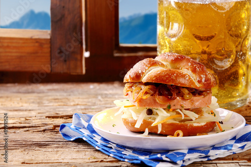 Poster Cold beer and salty pretzels
