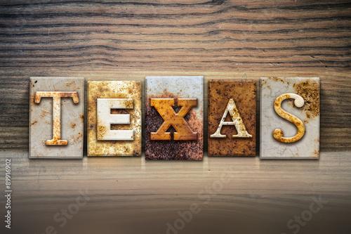 Plagát Texas Concept Letterpress Theme