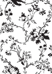 Vintage floral seamless pattern with hand drawn poppies vector
