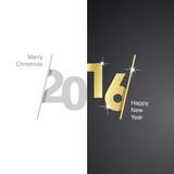 Fototapety 2016 Happy New Year gray gold black background