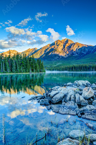 Canadian Landscape: Sunrise at Pyramid Lake in Jasper National Park плакат