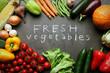 Fresh vegetables on grey kitchen table