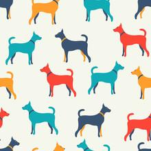 Zwierząt bez szwu deseń psów sylwetki