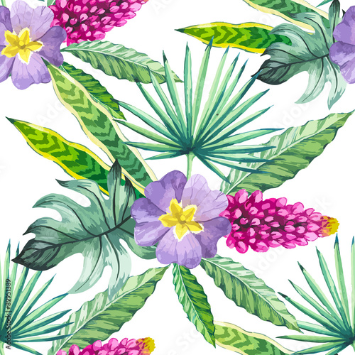 Cotton fabric Vector illustration with watercolor flowers.
