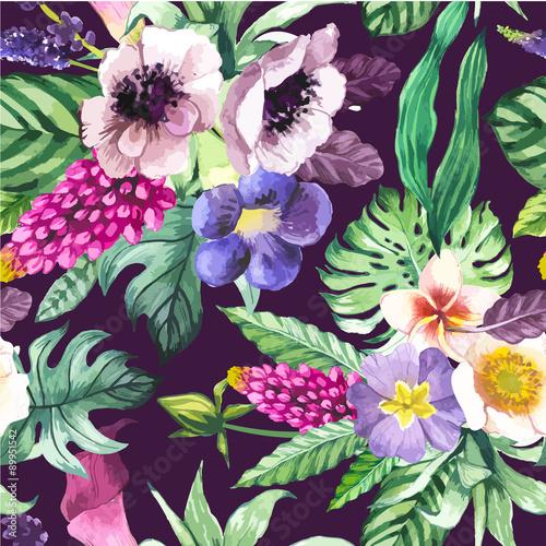 Stoffe zum Nähen Vektor-Illustration mit Aquarell Blumen.