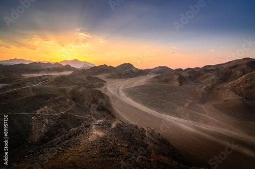 Poster Sunset In the desert