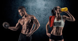 Fototapety Athletic man and woman