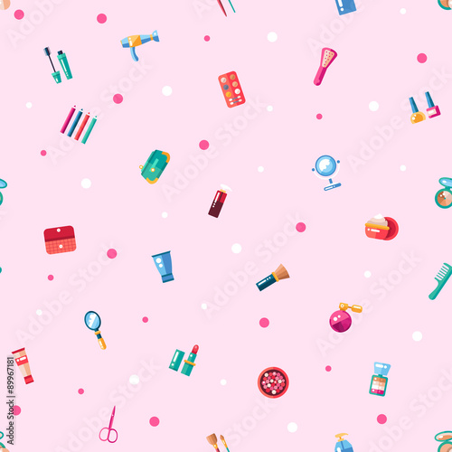 Materiał do szycia Pattern of flat design cosmetics, make up icons and elements