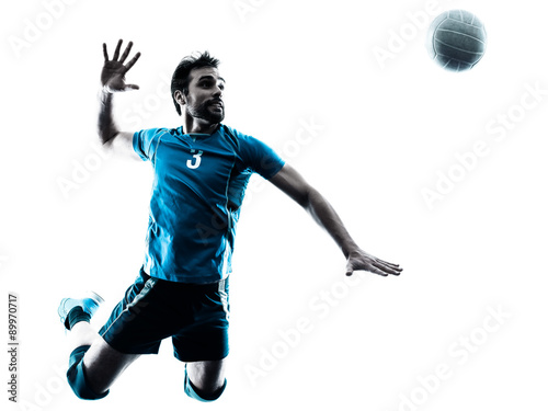 Plakat man volleyball  jumping silhouette