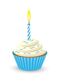 Birthday Cupcake with One Candle (blue)