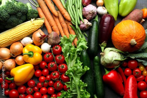 Fresh vegetables background - harvest concept - 89974773