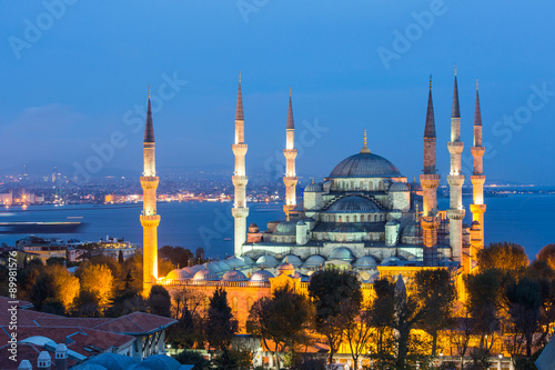 Poster, Tablou Aerial view of Blue Mosque in Istanbul at night