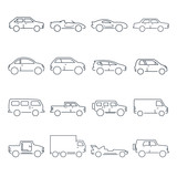 Outline car collection icon