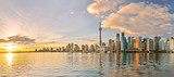 Panorama of Toronto skyline at sunset in Ontario, Canada.