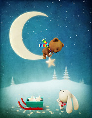 Greeting card or poster Christmas Adventure Bear and Bunny