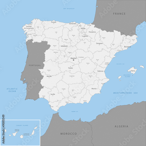Highly detailed map of Spain, vector.