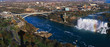 This is an aerial view of the American Falls and Rainbow Bridge. It is the view from Skylon Tower in Canada.