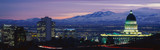 Fototapety This is the State Capitol, Great Salt Lake and Snow Capped Wasatch Mountains at sunset. It will be the winter Olympic city for the year 2002.