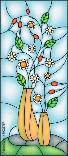 Naklejka Garden flowers in vase. Stained glass window, vector