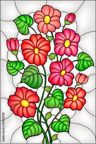 Naklejka Garden flowers / blossom. Stained glass window, vector
