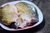 two carp fillets ,selective focus at carp fillets