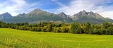 Panorama. Summer mountain landscape. Beautiful view on High Tatra Mountains, Slovakia.