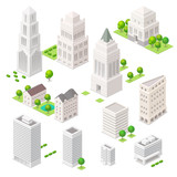 Fototapety Set of the isometric vector elements. Skyscrapers, trees and oth