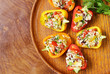 salad snack bell peppers stuffed with couscous with vegetables