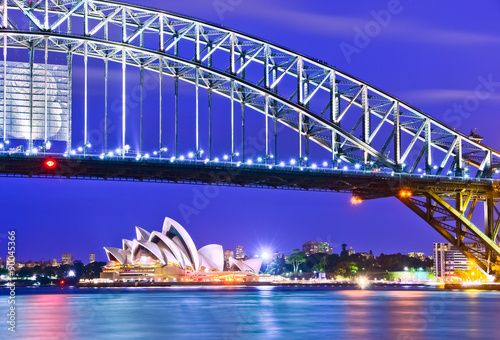 Aluminium Donkerblauw View of Sydney Harbor at night
